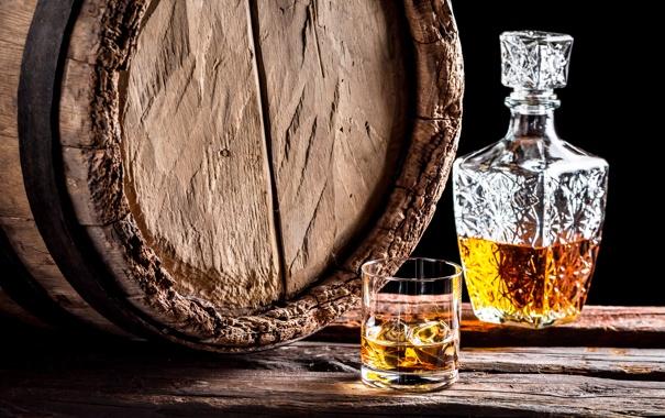 Фото обои whiskey, bottle, barrel