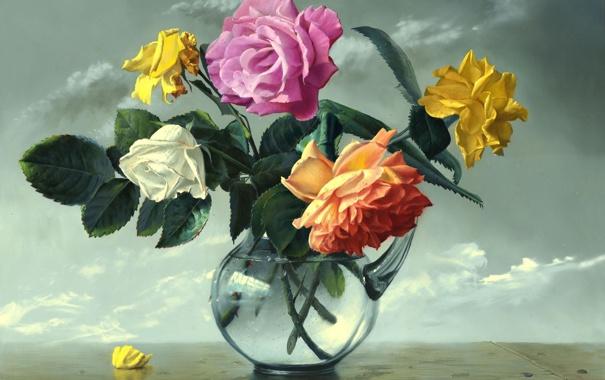 Фото обои цветы, розы, ваза, живопись, стеклянная ваза, Alexei Antonov, Still Life