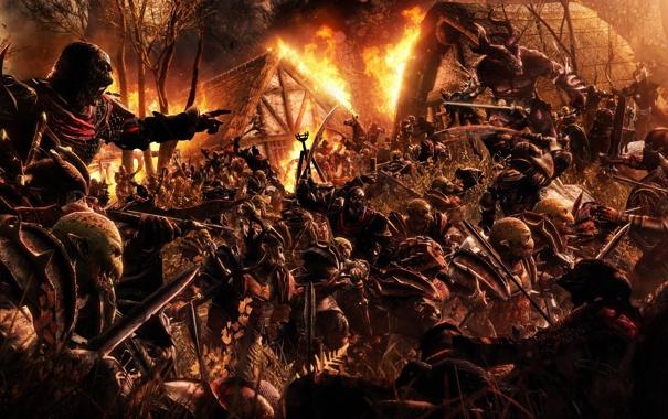 Фото обои ночь, дом, оружие, пожар, деревня, монстры, солдаты
