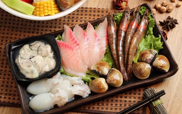 Фото обои рыба, морепродукты, креветки, бадьян, моллюски, японская кухня, мускатный орех