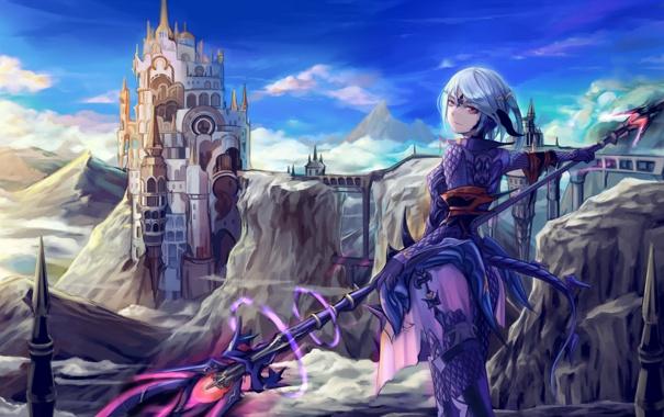 Фото обои девушка, оружие, замок, магия, аниме, арт, final fantasy