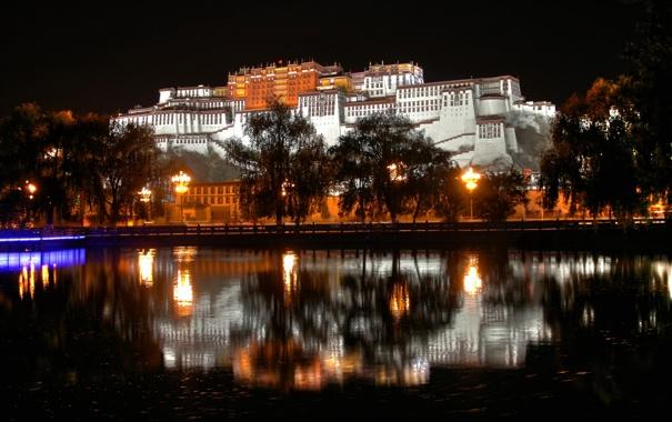 Фото обои tibet, Lhasa, naght., castels. China