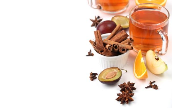 Фото обои чай, яблоко, апельсин, кружка, напиток, фрукты, корица