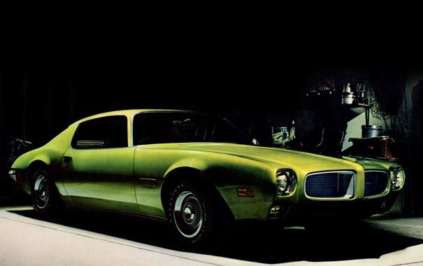 Фото обои green, мускул-кар, Pontiac, понтиак, Firebird