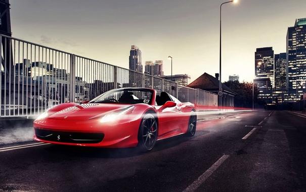 Фото обои город, Ferrari, red, родстер, феррари, красная, 458