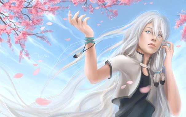 Фото обои небо, девушка, цветы, дерево, перья, сакура, арт