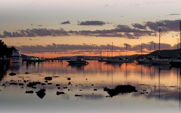 Фото обои солнце, пейзаж, закат, Вечер, яхты