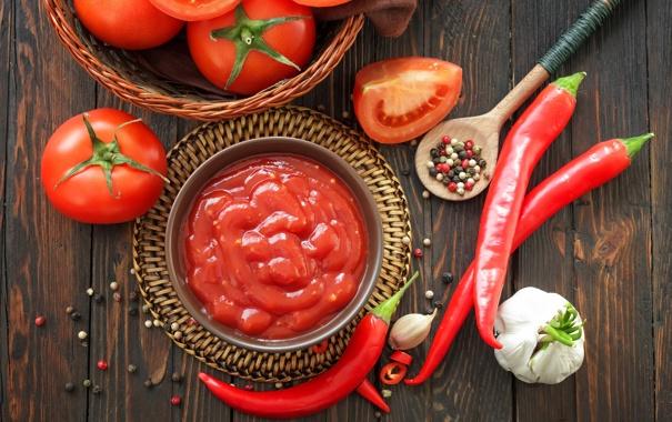 Фото обои перец, помидоры, соус, томаты, кетчуп, специи, чеснок