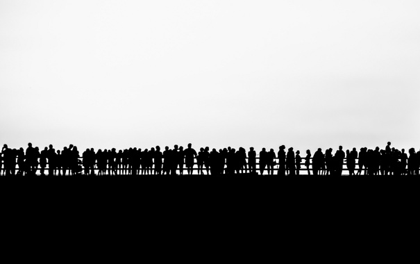 Фото обои bridge, people, Silhouette
