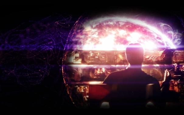 Фото обои звезда, сигарета, призрак, mass effect, экраны, illusive man