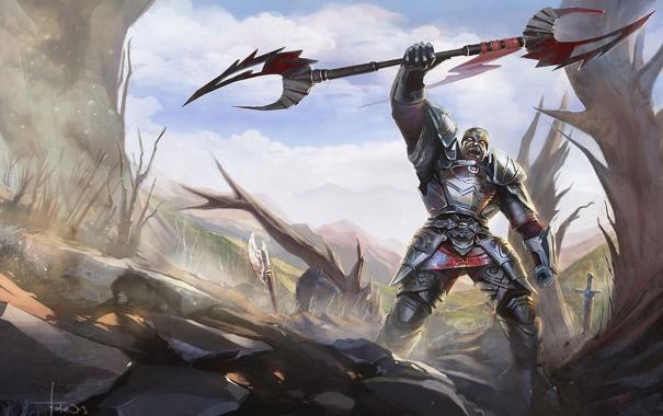 Фото обои доспех, скалы, воин, арт, победа, мужчина, оружие
