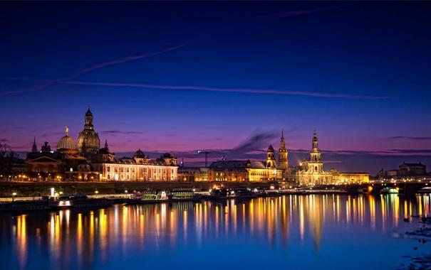 Фото обои ночь, мост, огни, река, дома, Германия, Dresden