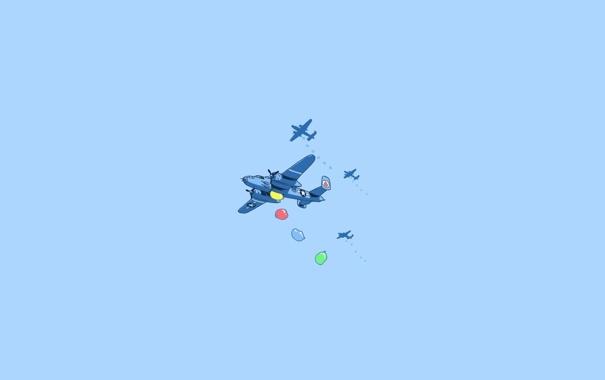 Фото обои небо, шарики, Самолёты