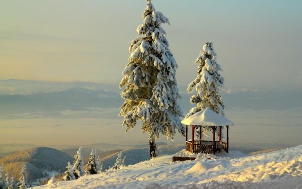 Фото обои зима, небо, снег, горы, беседка, BelleVue