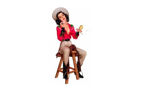 Фото обои девушка, шляпа, сигарета, стул, табуретка, pin up, пудреница