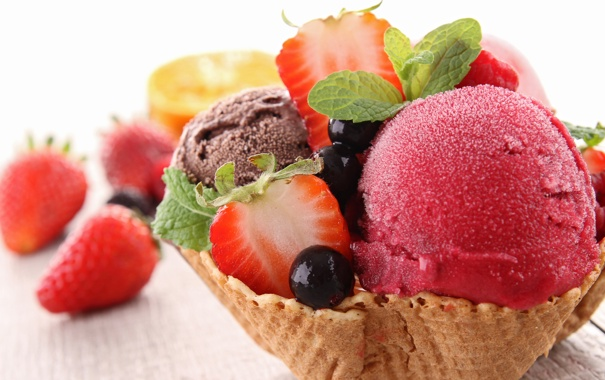 Фото обои sweet, strawberry, dessert, berries, ice cream