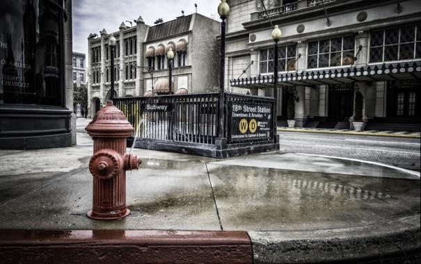 Фото обои вода, колонка, тротуар, photo, photographer, пожарный, гидрант