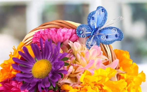 Фото обои цветы, бабочка, корзина, букет, лепестки