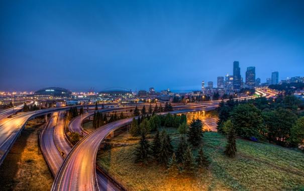 Фото обои city, lights, morning, usa, seattle