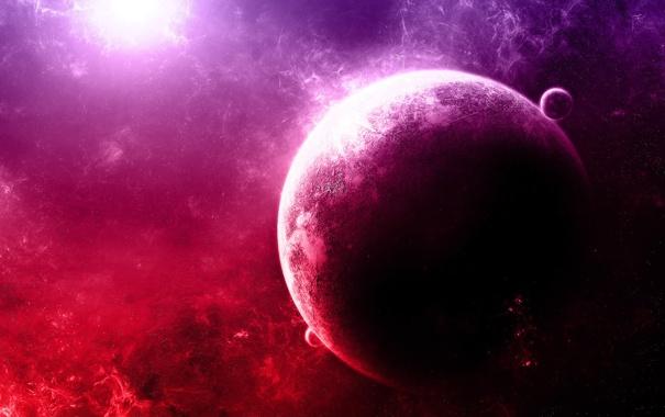 Фото обои звезды, Планета, Purple, Туманности
