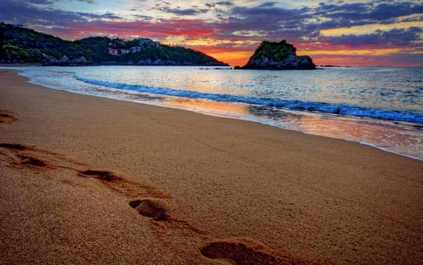 Фото обои песок, море, пляж, закат, следы, beach, sea