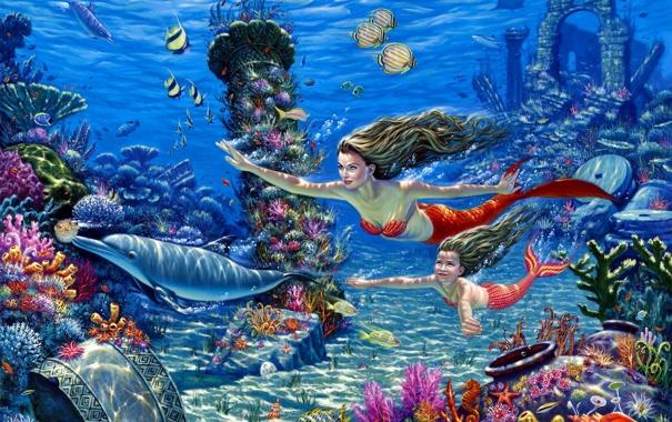 Фото обои рыбы, кораллы, арт, дельфины, подводный мир, русалки, морское дно