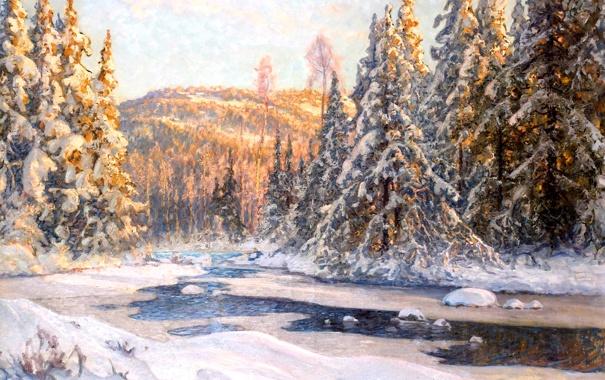 Фото обои лед, зима, лес, свет, снег, пейзаж, река