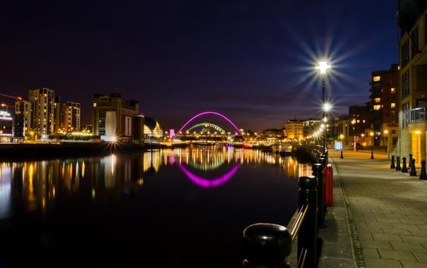 Фото обои ночь, мост, город, река