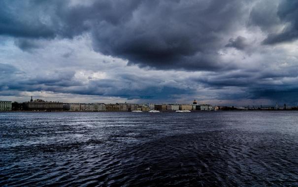 Фото обои Питер, Река, Тучи, Санкт-Петербург, Russia, спб, Нева
