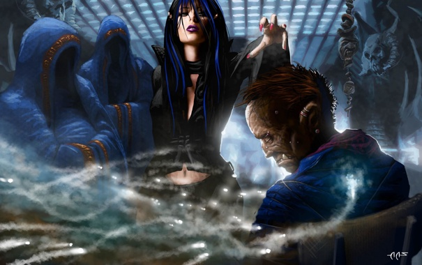 Фото обои девушка, люди, магия, арт, капюшон, зомби