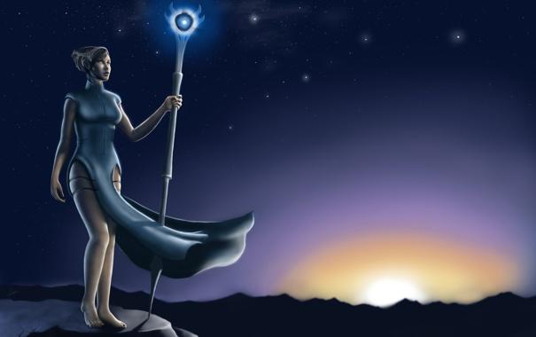 Фото обои звезды, восход, магия, камень, Девушка, посох, волшебница
