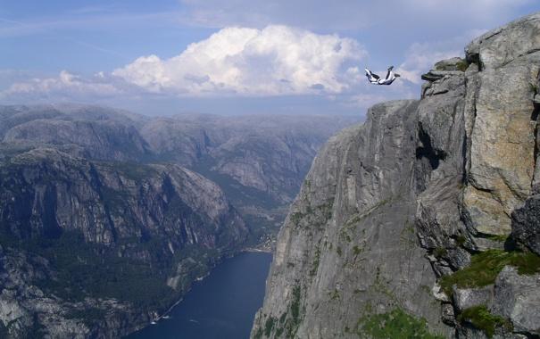 Фото обои горы, прыжок, парашутист