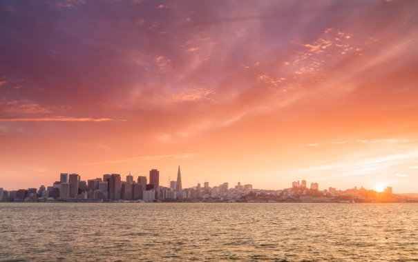 Фото обои город, небоскребы, утро, San Francisco, панорамма