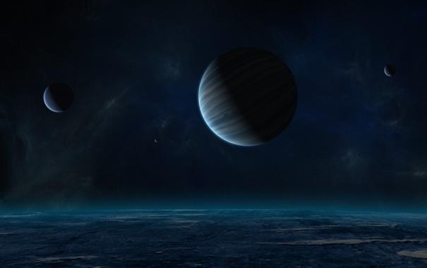 Фото обои звезды, пространство, планеты, луны, газовый гигант