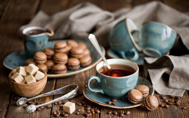 Фото обои кофе, зерна, печенье, ложка, чашки, сахар, кружки