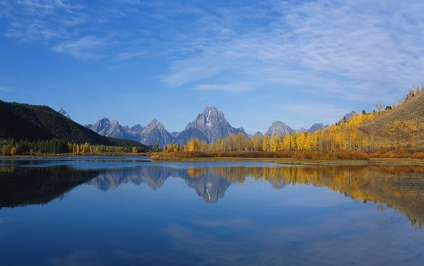 Фото обои небо, поверхность, горы, отражение, скалы, горизонт, леса