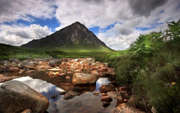 Фото обои река, камни, гора