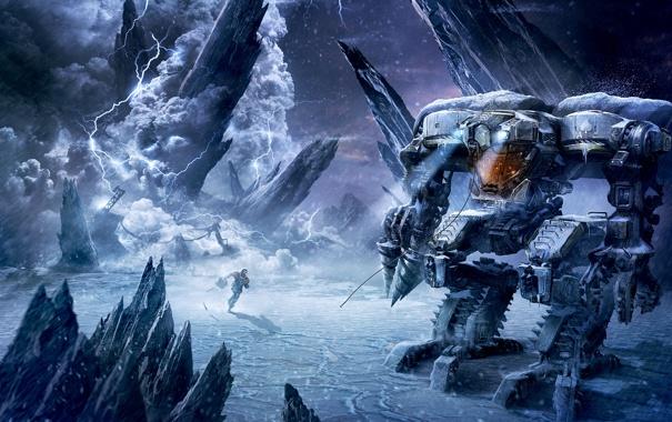 Фото обои холод, зима, снег, молния, робот, буря, арт
