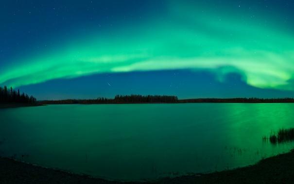 Фото обои небо, звезды, озеро, отражение, сияние, полярное