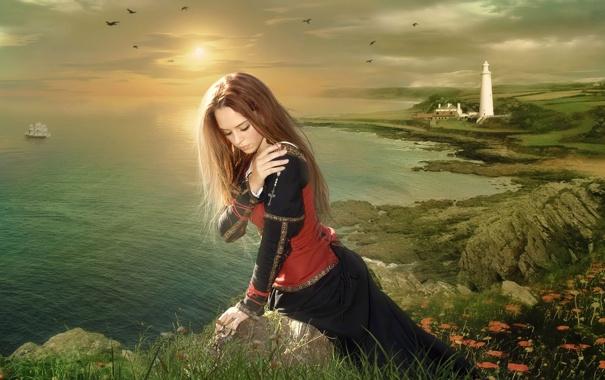 Фото обои море, девушка, закат, романтика, маяк, корабль