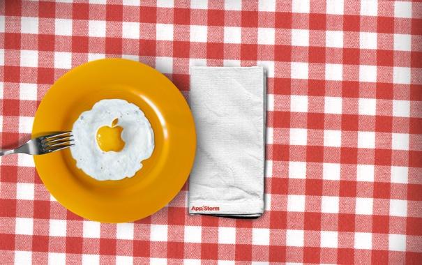 Фото обои еда, яишница, aple