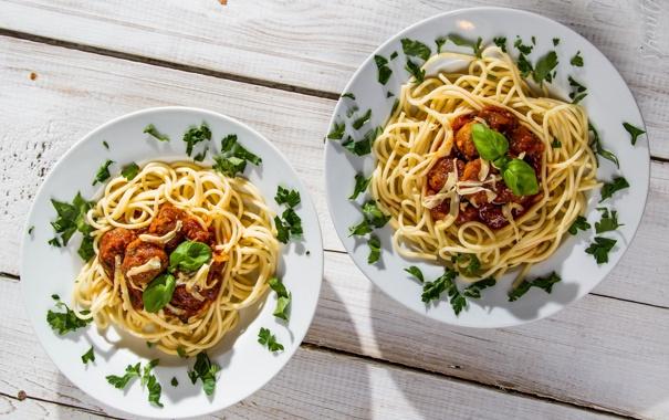 Фото обои зелень, спагетти, соус