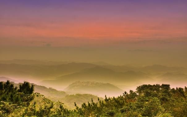 Фото обои горы, туман, рассвет