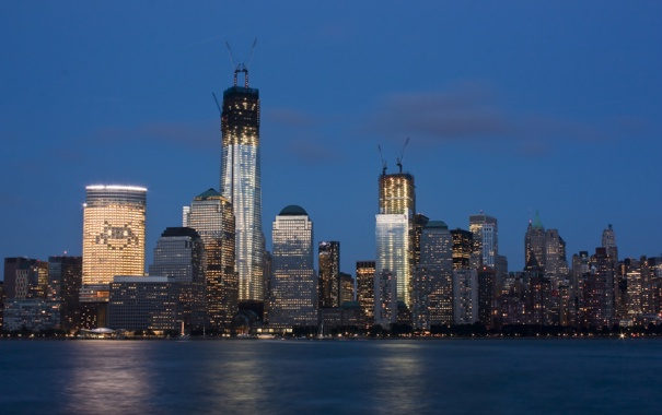 Фото обои река, здания, панорама, Jersey City, Exchange Place
