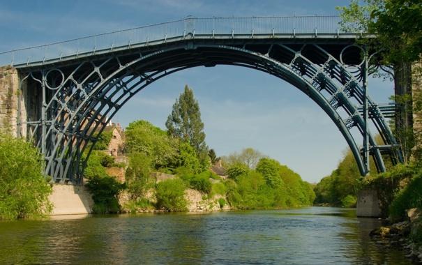 Фото обои мост, река, течение, деревня, iron bridge