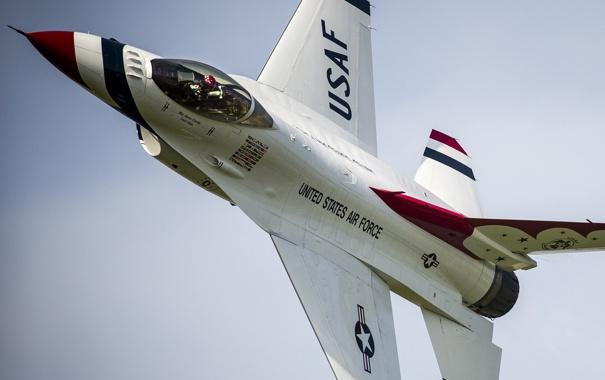Фото обои истребитель, F-16, Fighting Falcon, Thunderbird