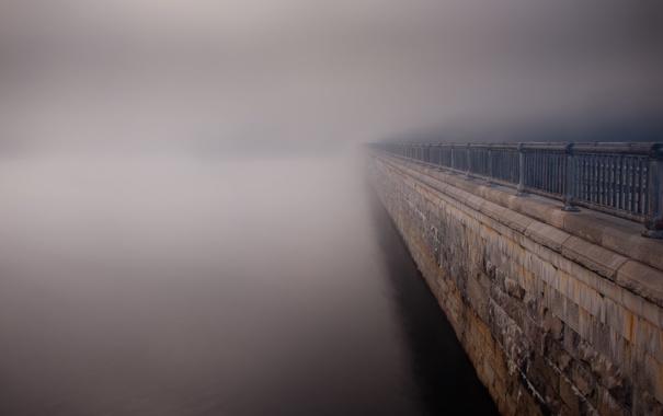 Фото обои пейзаж, туман, река, улица