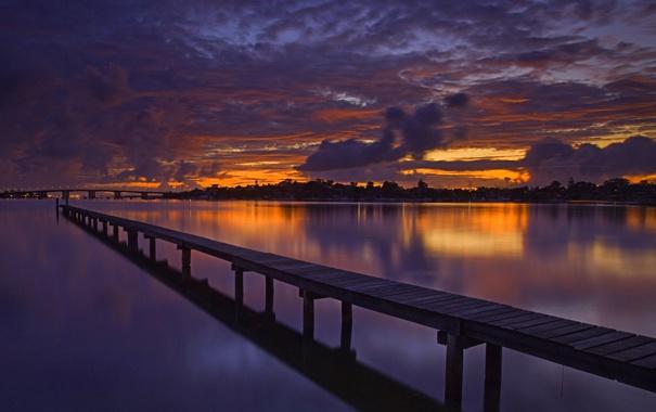 Фото обои небо, облака, закат, мост, река, вечер