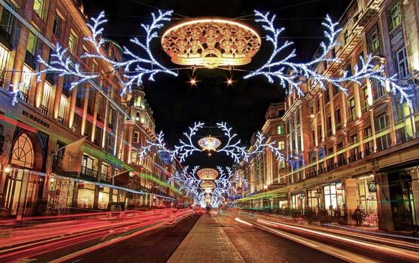 Фото обои ночь, огни, праздник, улица, Англия, Лондон, Новый Год