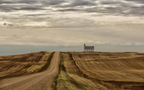 Фото обои дорога, поле, пейзаж, храм